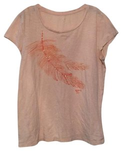Ann Taylor LOFT T Shirt Light Beige with Coral Feather