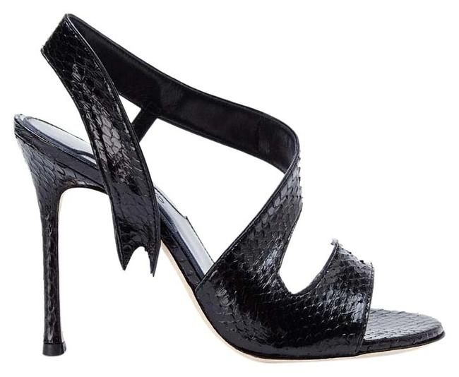 Item - Black New Made In Italy Genuine Snakeskin Leather Sandals Size US 8