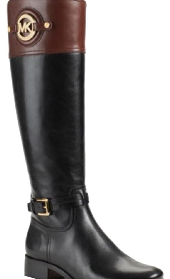 ad7631b53f2b MICHAEL Michael Kors Stockard Two-tone Leather Riding Boots Booties ...