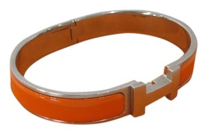 Hermès Hermes Enamel Narrow Clic Bracelet Orange