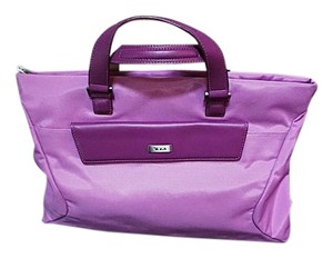 Tumi Classic Bright Summer Front Flap Canvas Lavender with Salmon Interior Messenger Bag