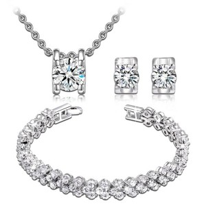 White Gold Plated Aaa Zircons Necklace Earrings Bracelet Luxury Box Antiallergic Jewelry Set