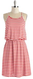 Modcloth short dress Red and White Summer Striped on Tradesy