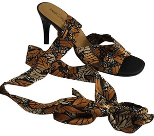 Pineda Covalin Silk Kitten Heel Butterfly Print Open Toe Gold and Black Sandals