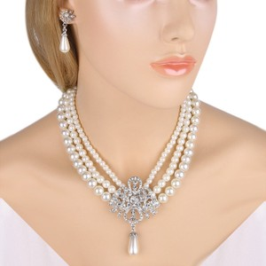 Ivory Women's Silver-tone Simulated Pearl Crystal Victorian Style Flower Color Necklace