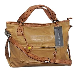 Donald J. Pliner Ostrich Leather New Brand New Camel Messenger Bag