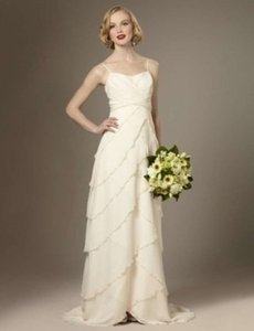 The Limited Ivory Textured Silk Chiffon Flyaway Tiers Destination Wedding Dress Size 6 (S)