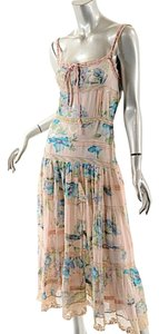 Blue, Pink, Multi Maxi Dress by Blumarine Chiffon Floral Tiered