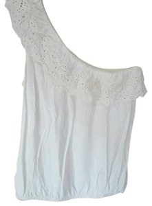 American Eagle Outfitters Lace One Shoulder Top white