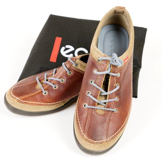Ecco Comfortable All Leather Brown Athletic Image 1