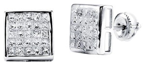 Avi and Co 2.00 cttw Princess Cut Invisible Set Diamond Stud Earrings 14K White Gold