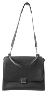 Céline Trapeze Pebbled Leather Tote Satchel in Black