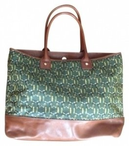 Tory Burch Tote in Tan with Green and Yellow Print