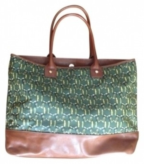 Preload https://item5.tradesy.com/images/tory-burch-tan-with-green-and-yellow-print-leather-canvas-tote-15729-0-0.jpg?width=440&height=440