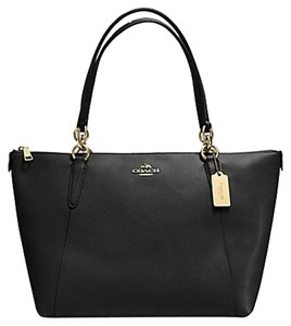 Coach Gold Chain Monogram Logo Classic Tote in Black