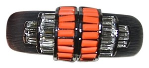 Alexis Bittar New Alexis Bittar DECO Lucite Coral Accented Hinged Bangle Bracelet CUBIST