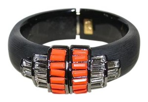 Alexis Bittar New Alexis Bittar DECO Lucite Coral Accented Hinged Bangle Bracelet