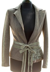Hazel Embellished Sand with green trim Jacket