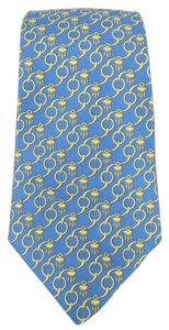 Hermès HERMES Light Blue & Gold Chain Link Print Silk Tie