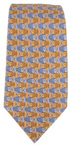 Hermès HERMES Orange & Blue Fish Print Silk Tie
