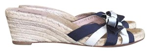 Salvatore Ferragamo Navy Blue/White Sandals