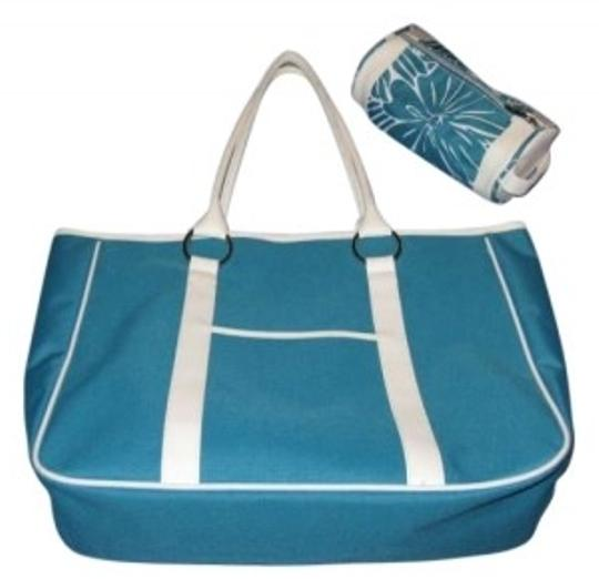 Preload https://item4.tradesy.com/images/lancome-tealwhite-polyester-tote-157308-0-0.jpg?width=440&height=440