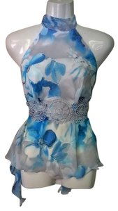 Lisa Nieves Floral Chiffon Neck Top blue / white