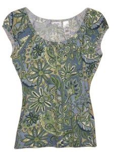 Liz & Co. Summer Short Sleeve Cotton Top Blue/Green/Yellow Paisley