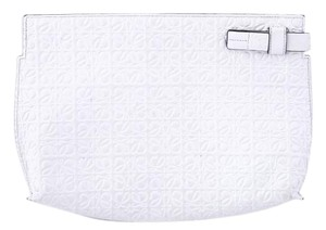 Loewe Embossed Leather Pouch white Clutch