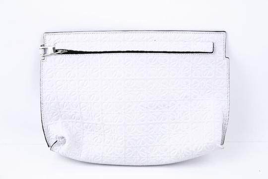 Loewe Embossed Leather Pouch white Clutch Image 1