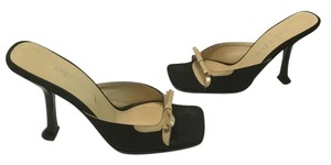 Prada Lining Stilettos Italian E36 Black fabric and tan leather Mules