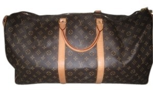 Louis Vuitton Brown Beige Monogram Canvas Travel Bag