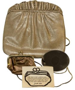 Judith Leiber Judith Nude Snake Embossed Clutch Cross Body Bag