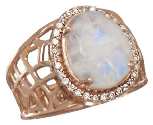 Other (New) 14 Karat Rose Gold Plated Large Rainbow Moonstone Ring