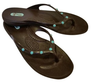 OKA b. Brown with Turquoise studs Sandals