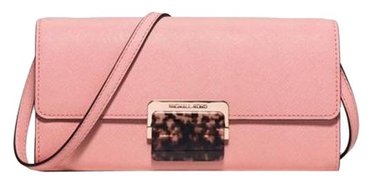 52e172a345279f Michael Kors Evening Clutch Cynthia Large Wallet Pale Pink Leather ...