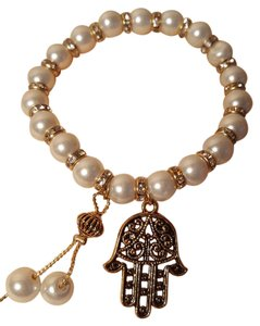 Other Good Luck hand of fatimah white glass pearl stretch bracelet