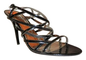 Guess Strappy Stiletto Emblem Ankle Strap Black Pumps