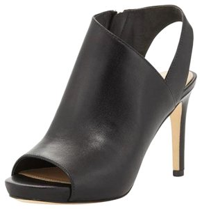 Via Spiga Leather Peep Toe Black Sandals