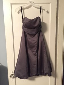 Alfred Angelo Charcoal Satin #6453 Formal Bridesmaid/Mob Dress Size 4 (S)
