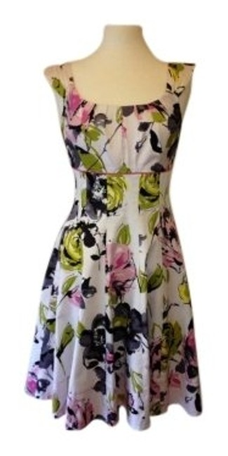 Maggy London short dress White/Pink/Green/Black floral on Tradesy