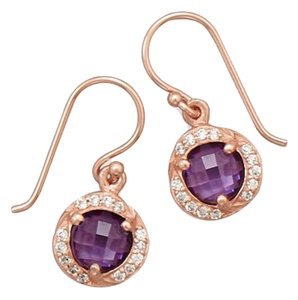 14 Karat Rose Gold Plated Purple CZ Earrings