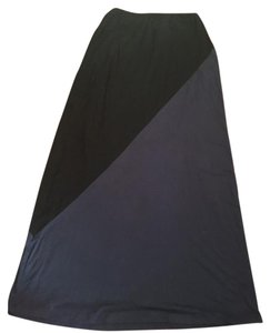 Bobeau Color-blocking Floor Length Casual Maxi Skirt Black and navy blue