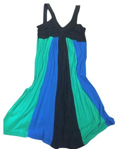 Other short dress Black, royal blue, emerald green Color-blocking Striped Bold V-neck on Tradesy
