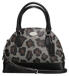 Coach Satchel in Grey and Black Ocelot Print