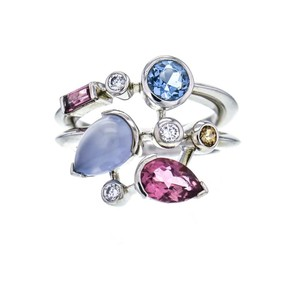 Cartier Meli Melo Ring in Platinum Aquamarine Chalcedony Diamond Tourmaline