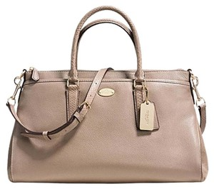 Coach Exotic 36125 Morgan Suede Satchel in Stone