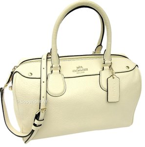 Coach Leather Bennett Crossbody Satchel in Chalk (Off White / Cream)