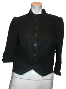 Temperley London TEMPERLEY LONDON MADE IN ITALY WOMEN LINEN BLACK SHORT JACKET UK 10, US 6