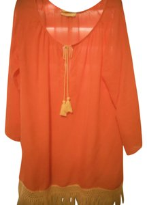 Stacey Woo STACEY WOO COVER UP COTTON AND SOFT BRIGHT CORAL WITH TASSEL TRIM